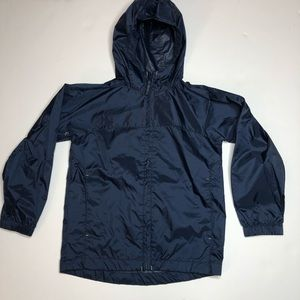 Lands End Kids Navy  Rain Wind Shell Jacket 5-6